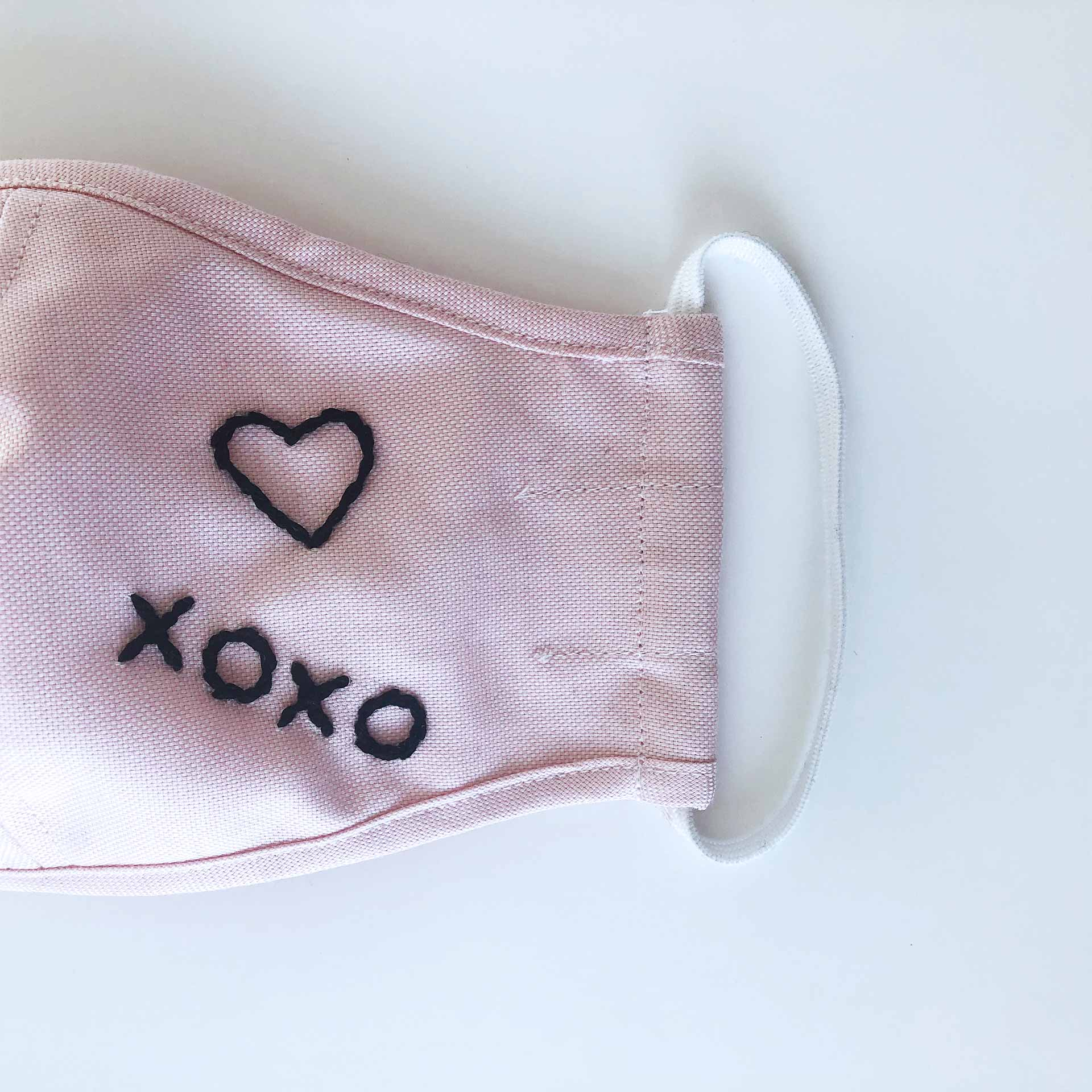 Made For The People -Hand Embroidered Contour Face Mask – Pink Muah