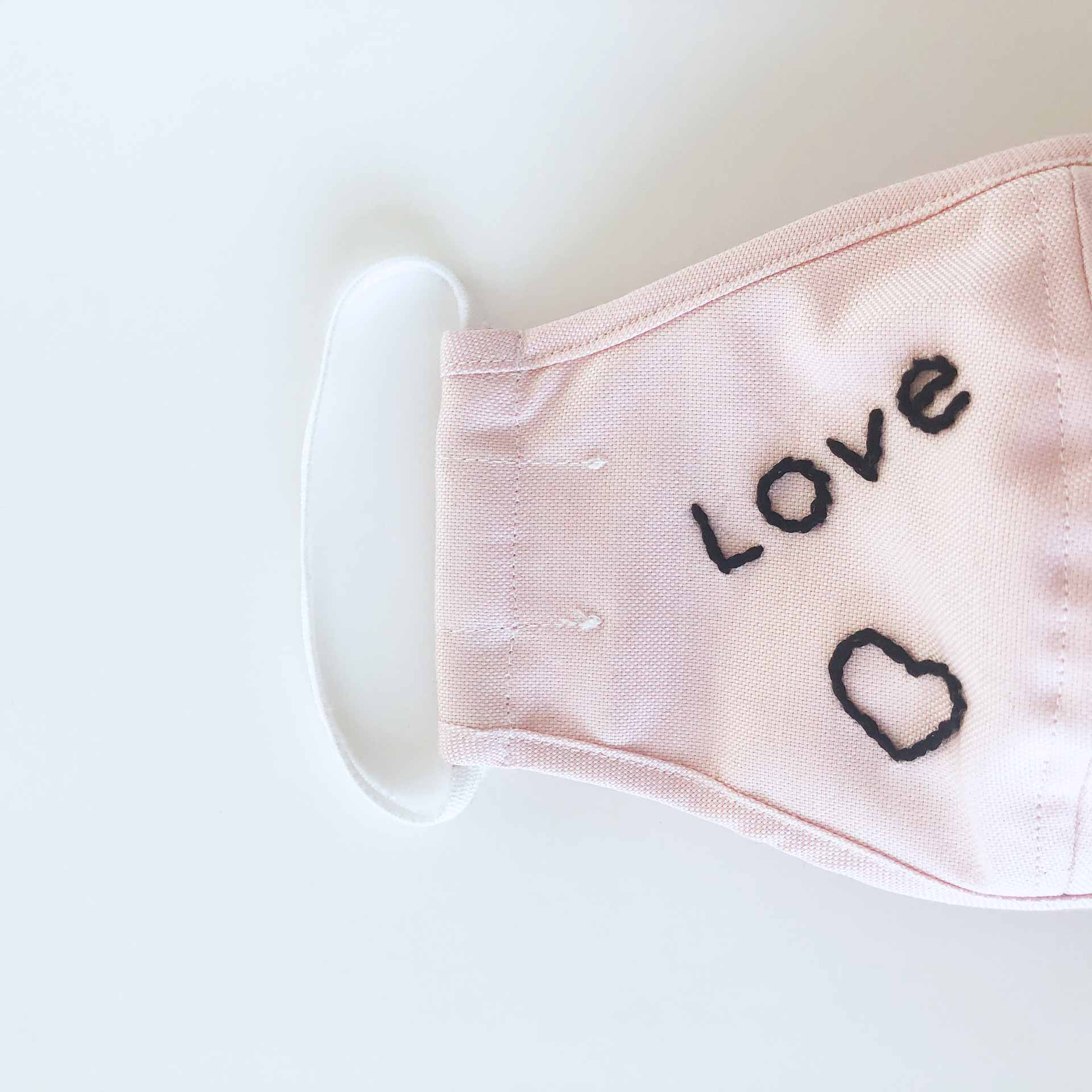 Made For The People -Hand Embroidered Contour Face Mask – Pink Love